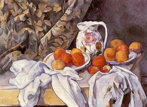 Paul Cezanne - nature morte avec rideau et `flowered` pichet