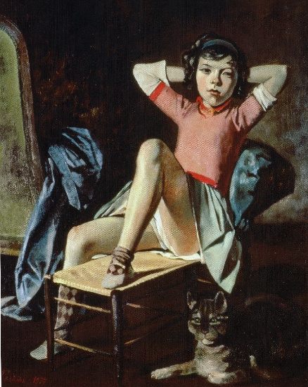 famous painting fille avec cat of Balthus (Balthasar Klossowski)