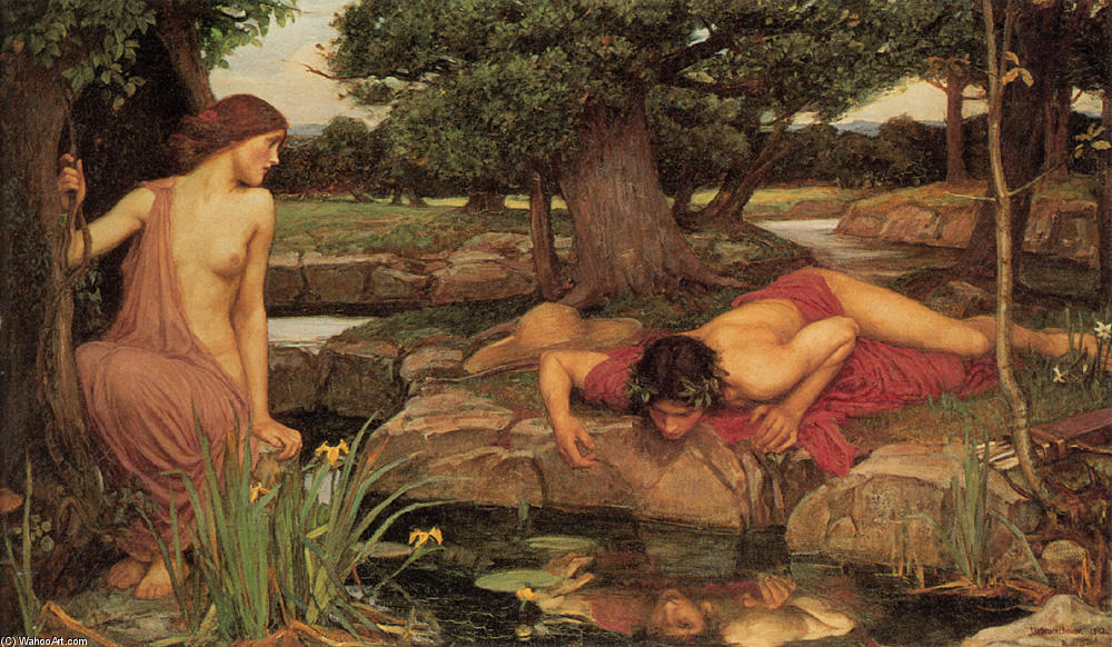 famous painting Echo et Narcisse of John William Waterhouse