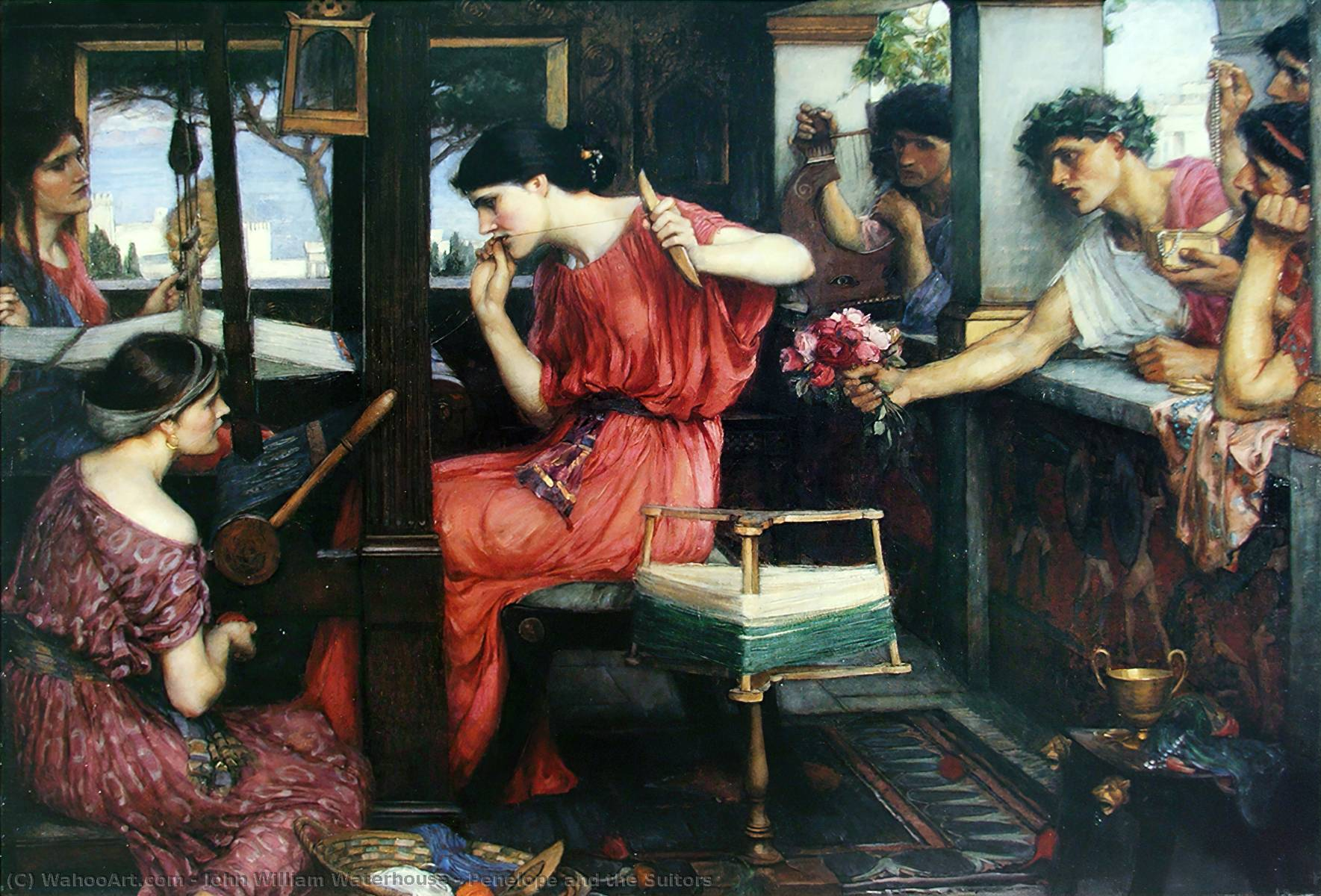 famous painting Pénélope et les prétendants of John William Waterhouse