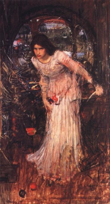 famous painting L'étude de la dame de shalott of John William Waterhouse