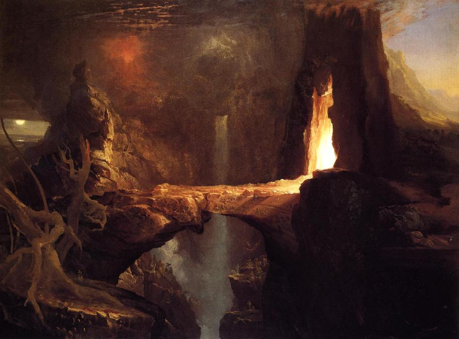 famous painting Expulsion . lune et firelight of Thomas Cole