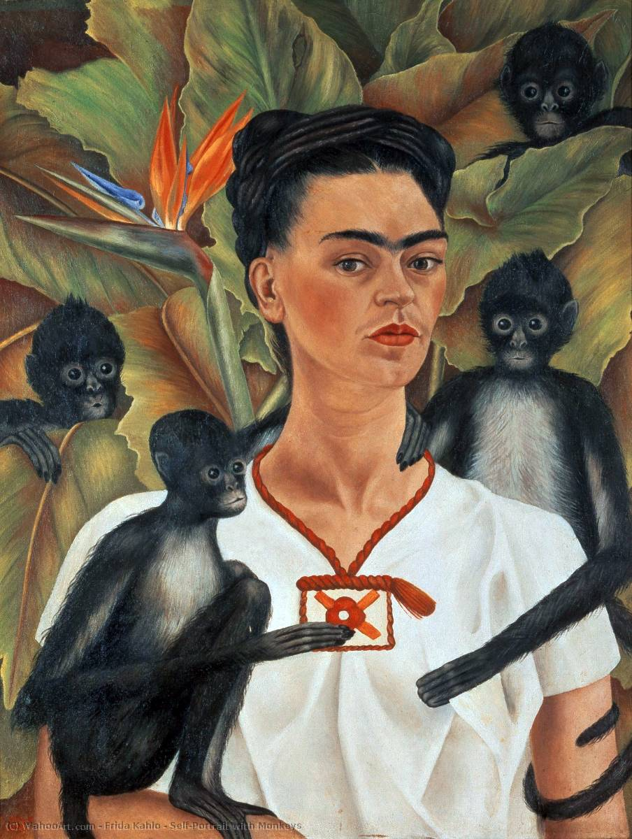 famous painting Self-Portrait avec des singes of Frida Kahlo