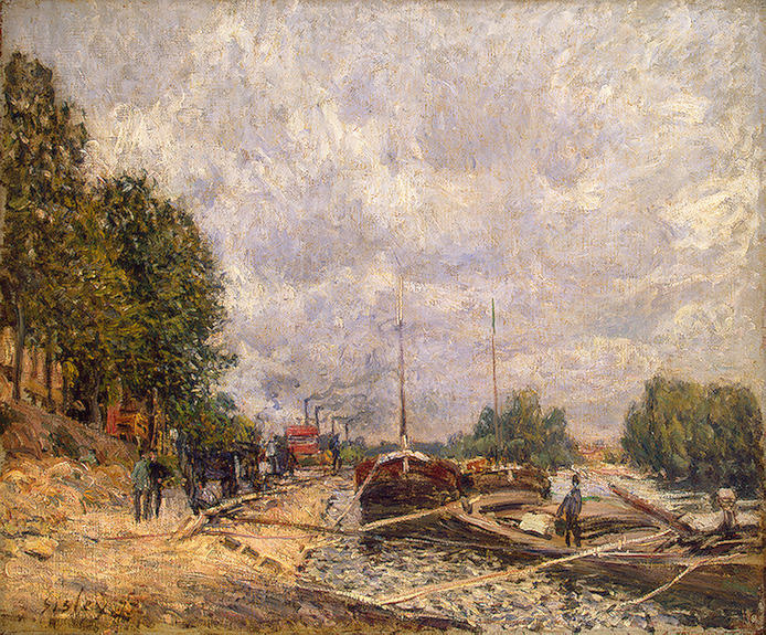 famous painting Barges à Billancourt of Alfred Sisley
