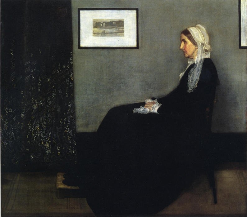 famous painting arrangement en gris et noir . Portrait du Painter's Mère of James Abbott Mcneill Whistler