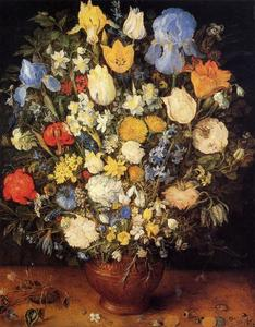 Jan Brueghel The Elder - bouquet de fleurs a céramique vase