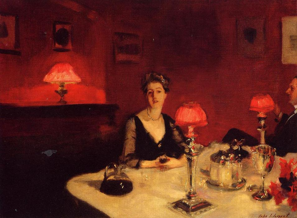 famous painting Une table à dinner la nuit ( également connu sous le nom Grimston de m . et mrs . albert vickers ) of John Singer Sargent