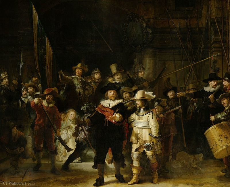 famous painting nuit regarder of Rembrandt Van Rijn