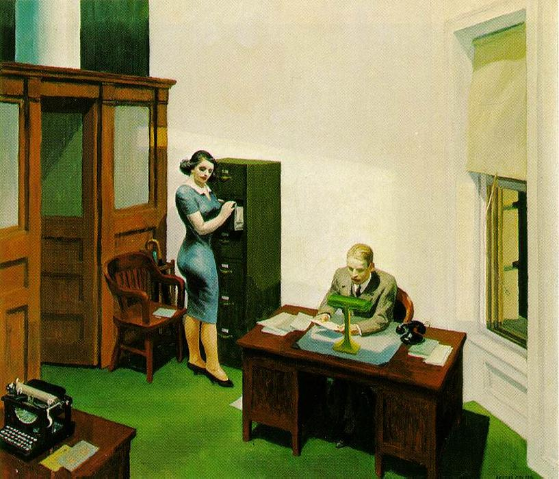 famous painting bureau de nuit of Edward Hopper