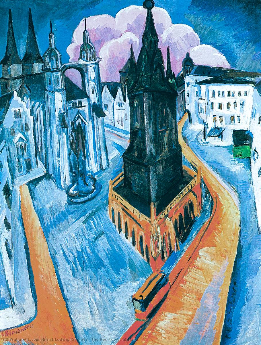famous painting le rouge tour au Halle of Ernst Ludwig Kirchner