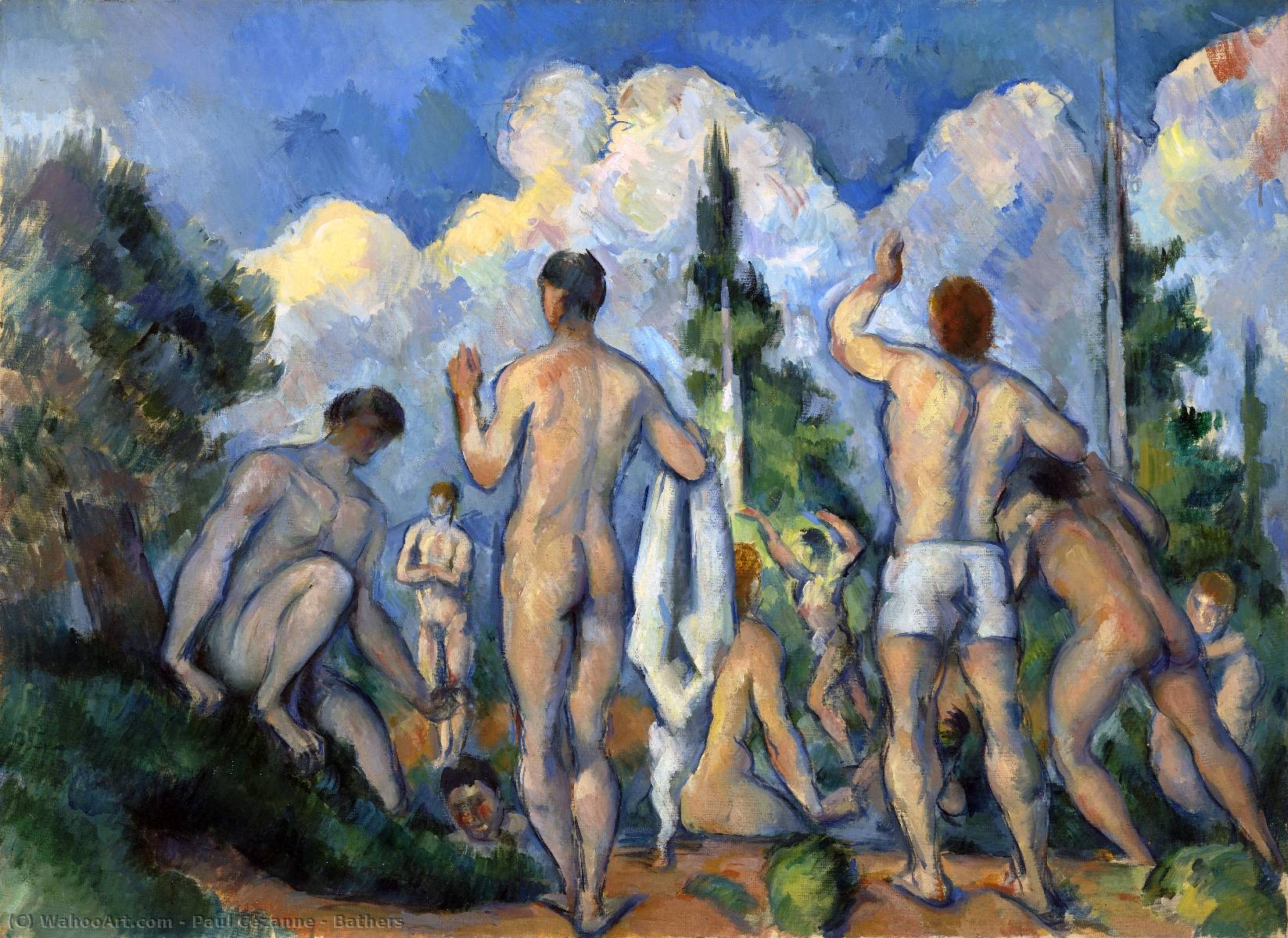 famous painting Baigneuses of Paul Cezanne