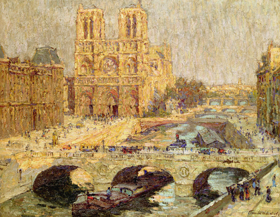famous painting Notre dame de Paris (1914) of Terrick John Williams