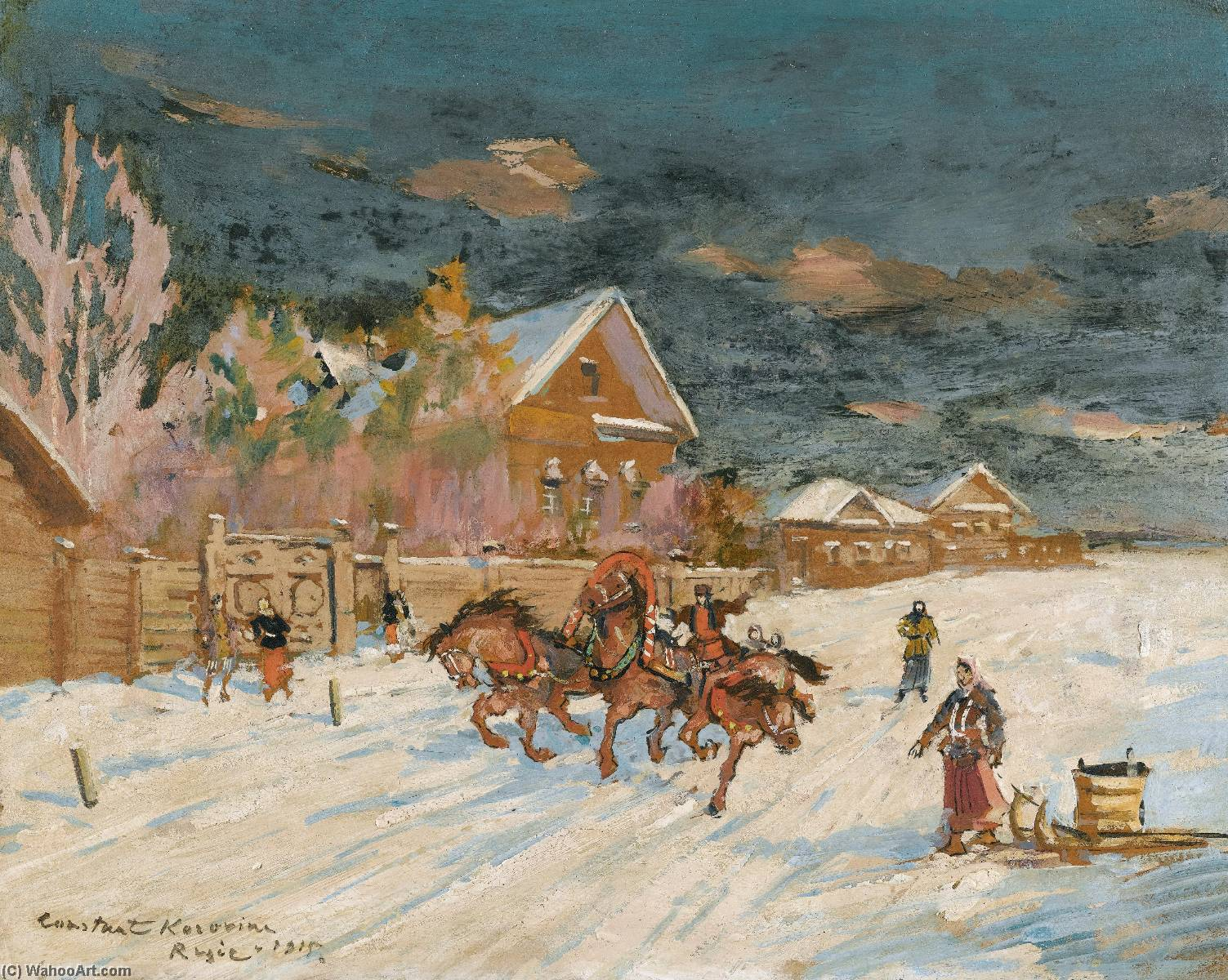 famous painting une paire de  hiver  paysages  of Konstantin Alekseyevich Korovin