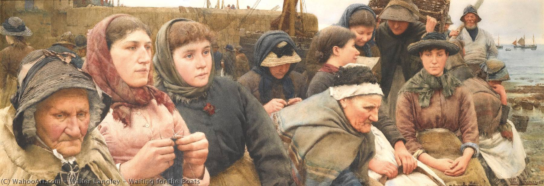 famous painting attendre le bateaux of Walter Langley
