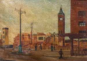 Beryl Clifton Bowyer - rue scène avec ruined market tower , Coventry